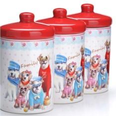 Красный набор банок 6 предметов Собачки
