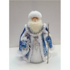 Игрушка Дед Мороз в серебристо-синем наряде
