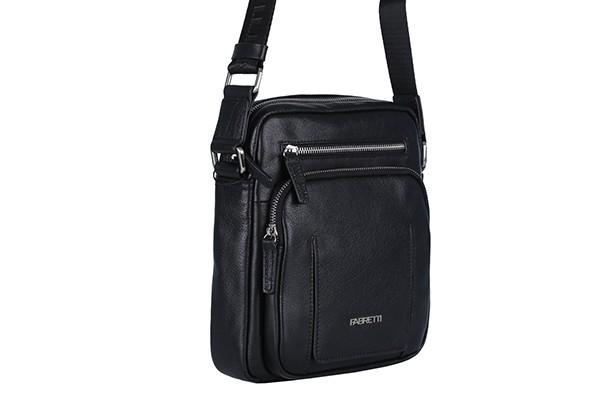 Мужская чёрная сумка Fabretti из натуральной кожи