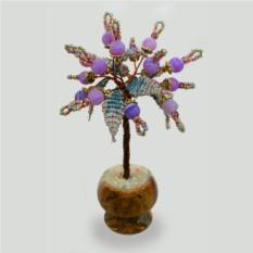 Миниатюрное дерево счастья из сиреневого агата