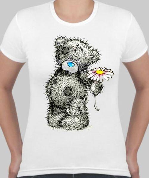 Женская футболка Мишка Тедди с цветком