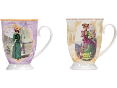 Набор: две кружки и чайное ситечко в коробке «Дамы высшего общества»