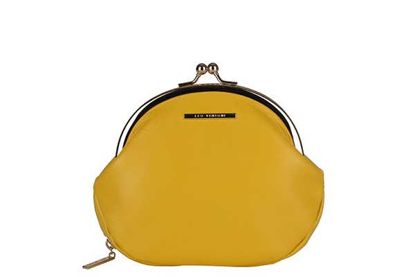 Женский желтый кошелек из натуральной кожи Leo Ventoni