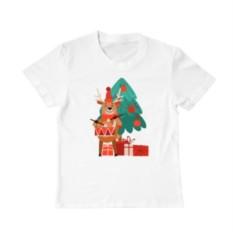 Детская футболка Новогодний олень и ёлка