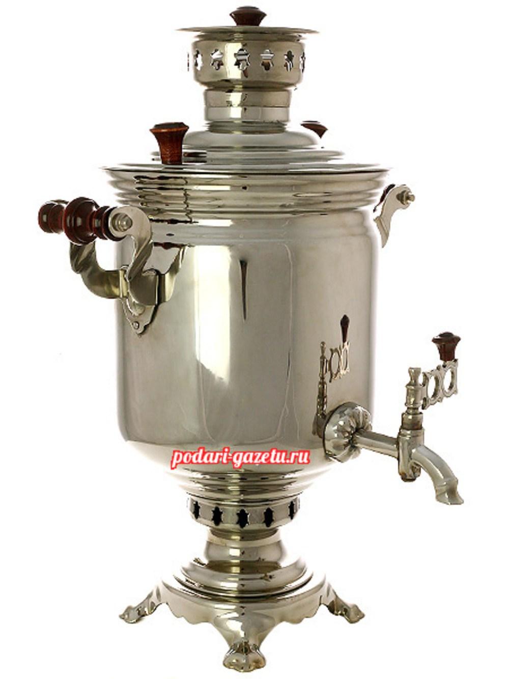 Комбинированный самовар (электрический/угольный) на 7 литров, никелированный цилиндр