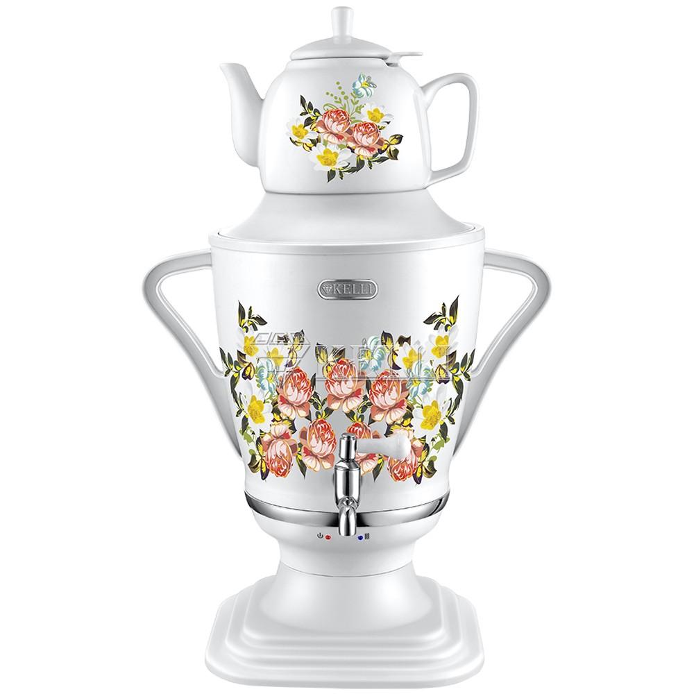 Электрический самовар с керамическим чайником «Цветы»