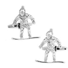 Запонки «Сноубордист» в именной коробке с гравировкой