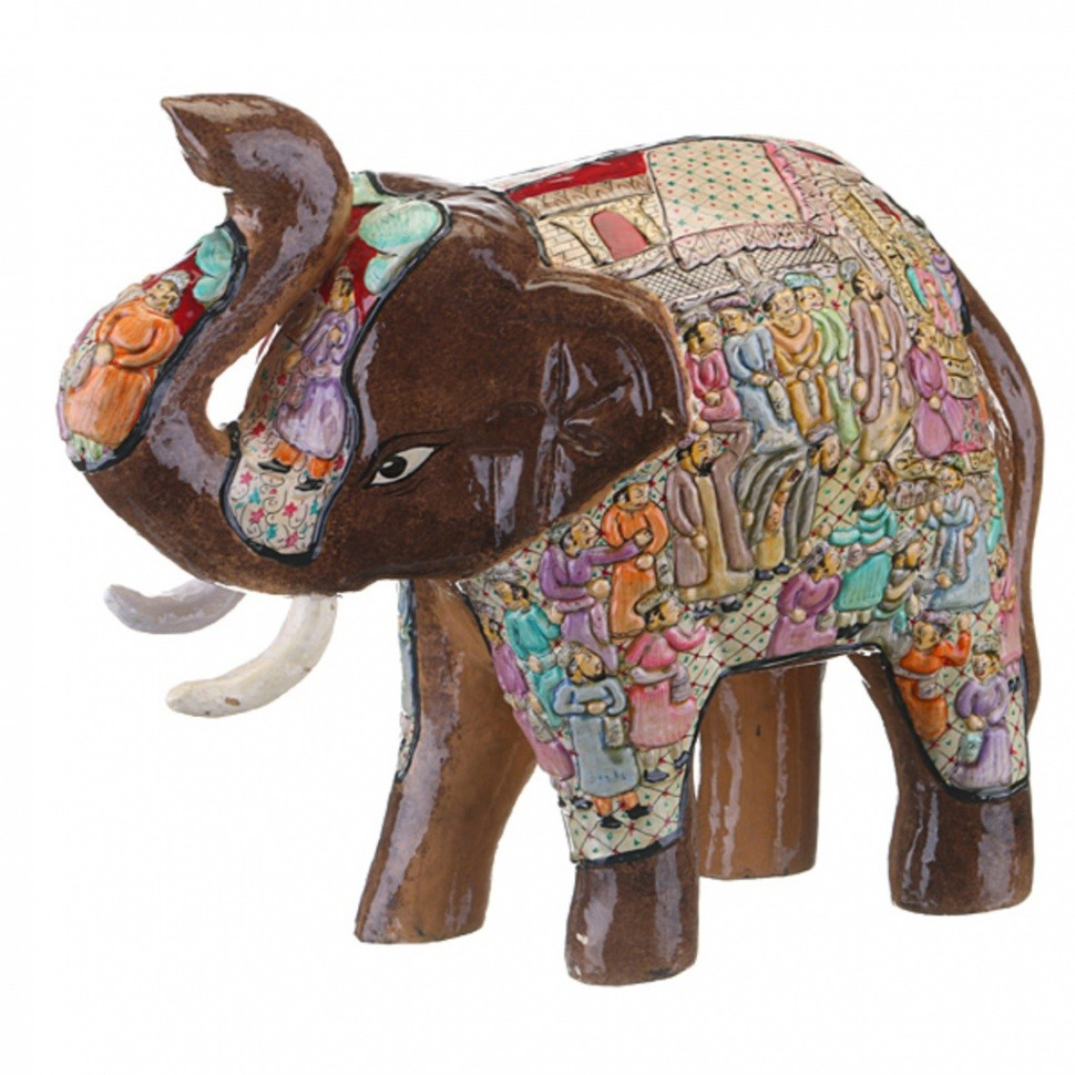 Фигурка Коричневый слоник с поднятым вверх хоботом