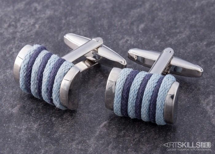 Запонки «Голубое плетение»