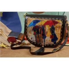 Женская сумка-седло с принтом Яркие зонтики