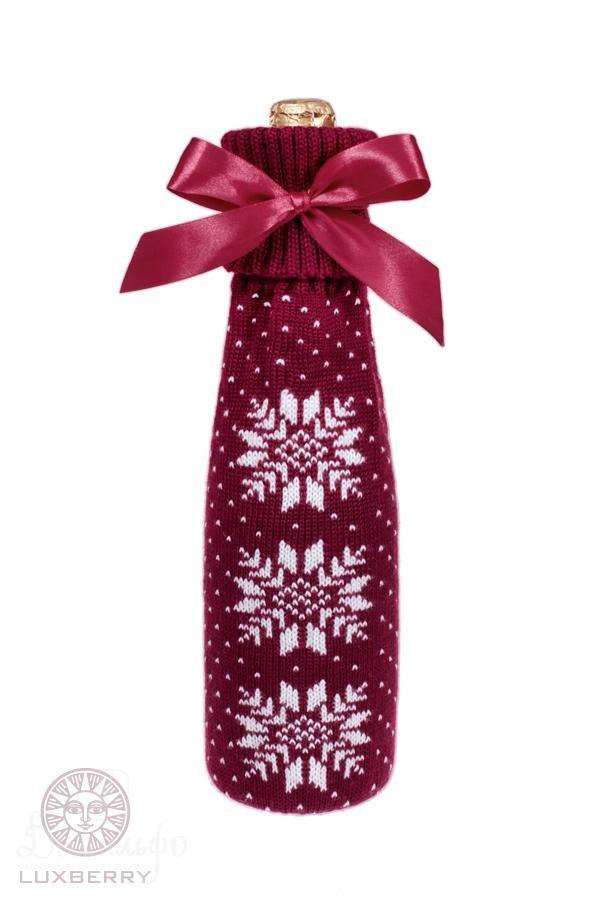 Декоративный чехол на бутылку Norway, бордо-белый