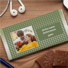Шоколадная открытка Зелёные сердца