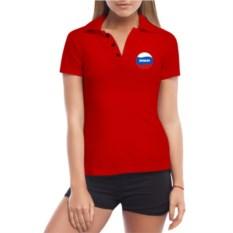 Красная именная женская футболка-поло Триколор