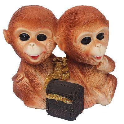 Декоративная статуэтка Пара обезьянок с монетами