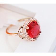 Кольцо с красным цирконием и кристаллами Рим