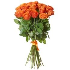 Букет из 25 рыжих роз высотой 50 см
