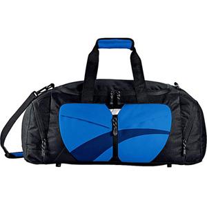 Сумка дорожная, чёрный цвет с синими вставками