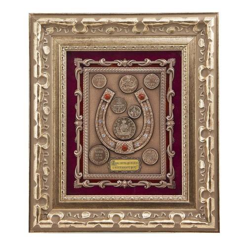 Настенная деревянная ключница Подкова с монетами