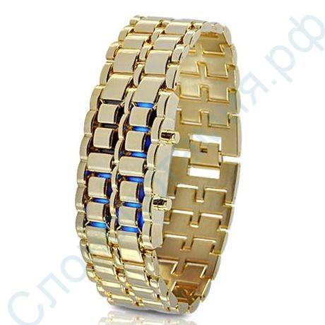 LED часы Самурай, золотые