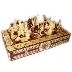 Резные шахматы с резными фигурами Русь Великая 50х25 см