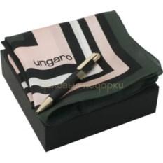 Розово-черный набор шейный платок и шариковая ручка