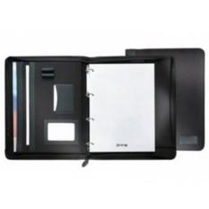 Черная папка для бумаг А4 на молнии с блокнотом