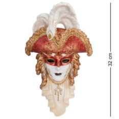 Венецианская маска Треуголка с белыми перьями