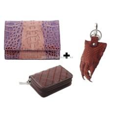 Женский кошелек, ключница, брелок из крокодильей кожи