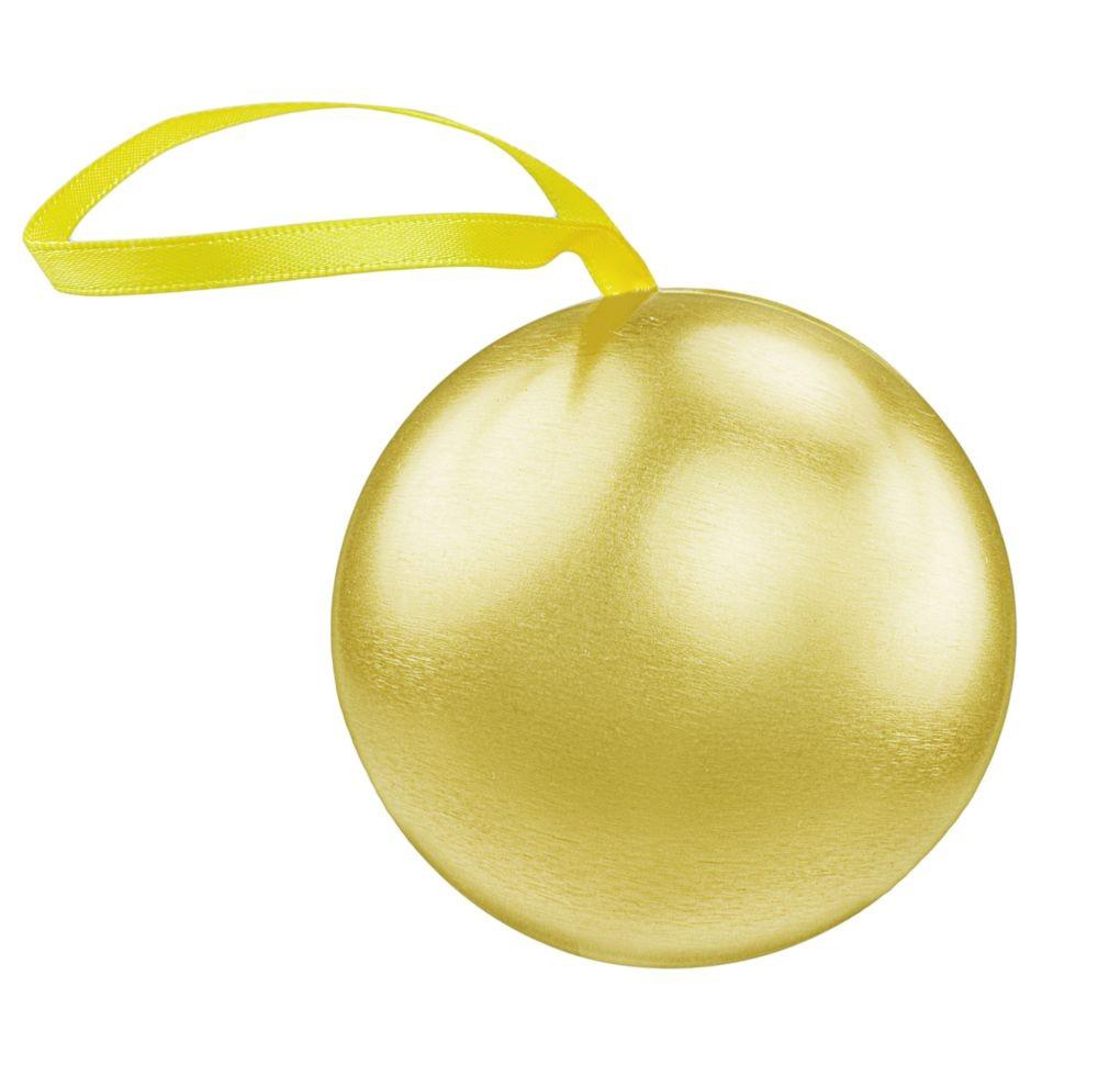 Шкатулка для подарка в виде елочного шара, золотая