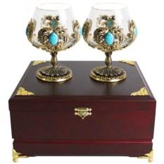 Набор из двух бокалов для коньяка с бирюзой