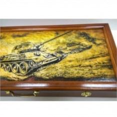 Деревянные нарды с металлическими фигурами Битва танков