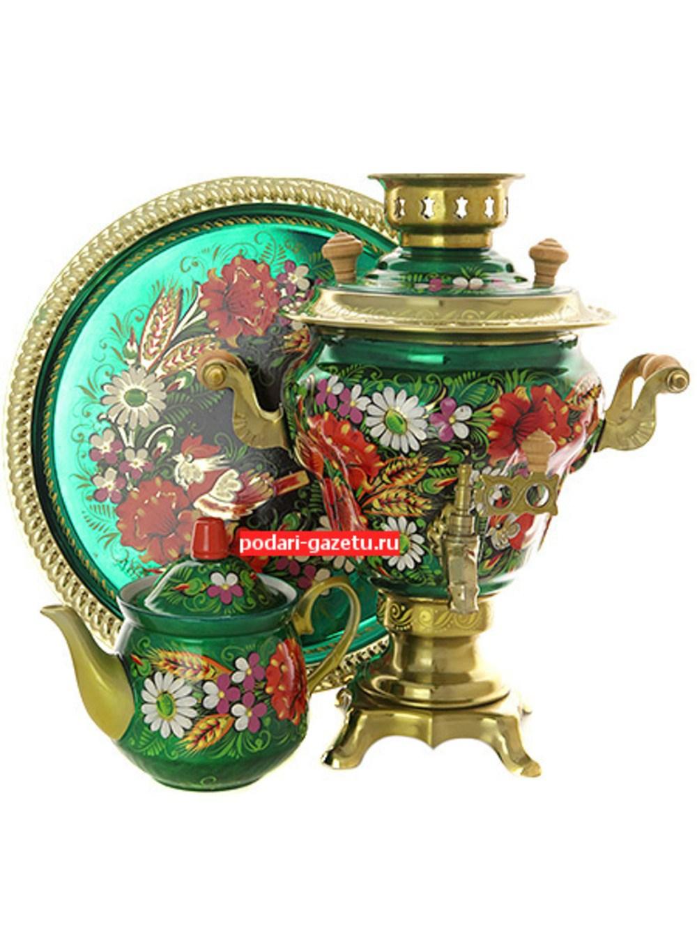 Набор самовар электрический 2 литра с художественной росписью Маки, ромашки на зеленом фоне