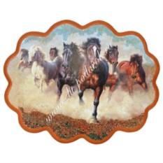 Панно из каменной крошки на репродукции Побег лошадей
