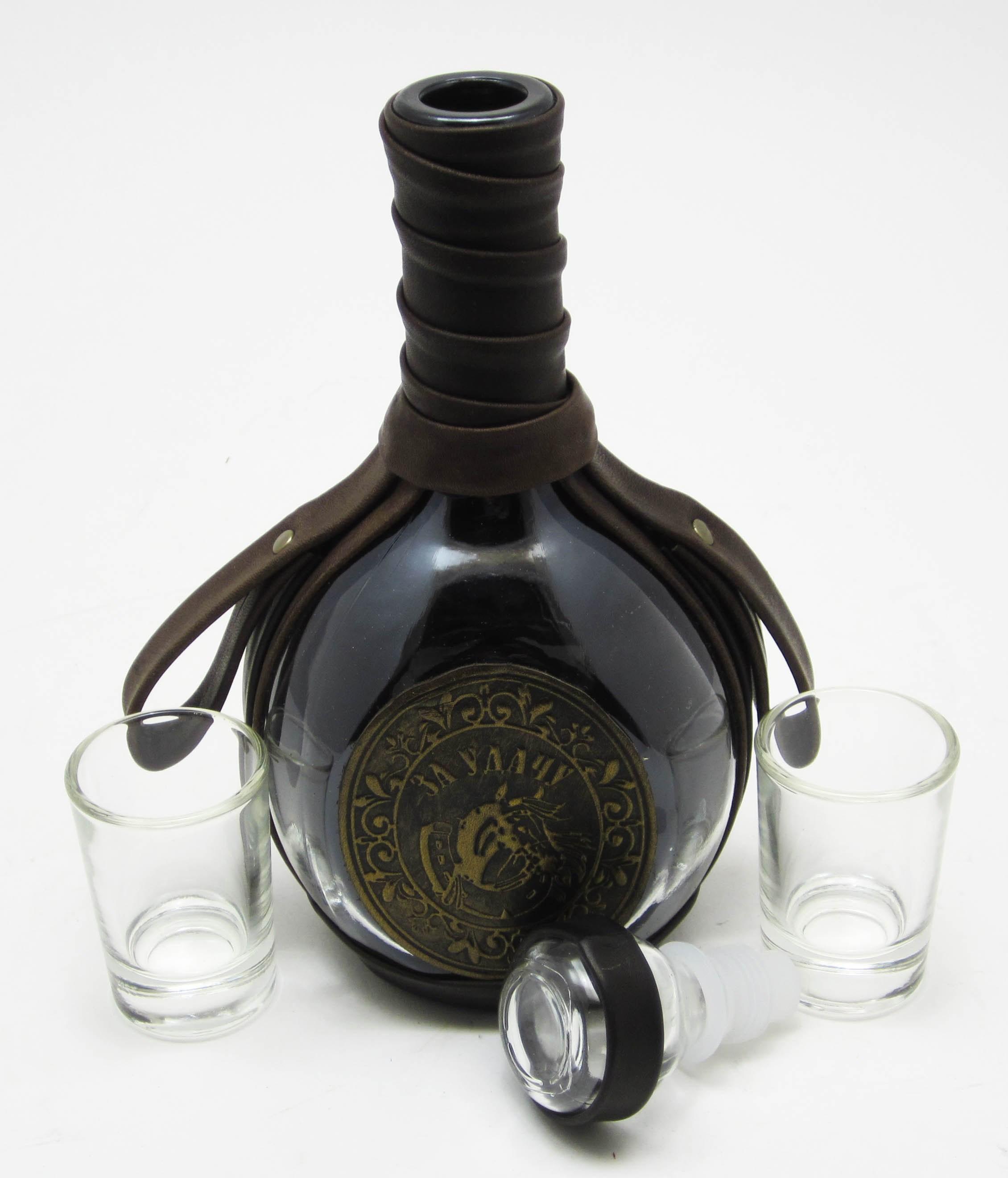 Набор для напитков в натуральной коже За удачу