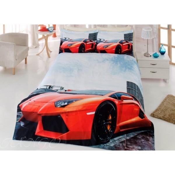 Евро комплект постельного белья, красный авто