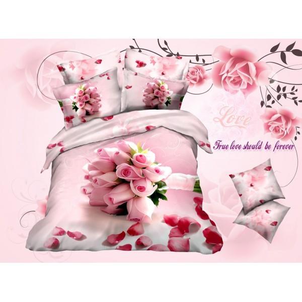 Евро комплект постельного белья 3D, розовый