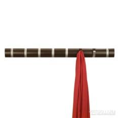 Темно-коричневая настенная вешалка на 8 крючков Flip