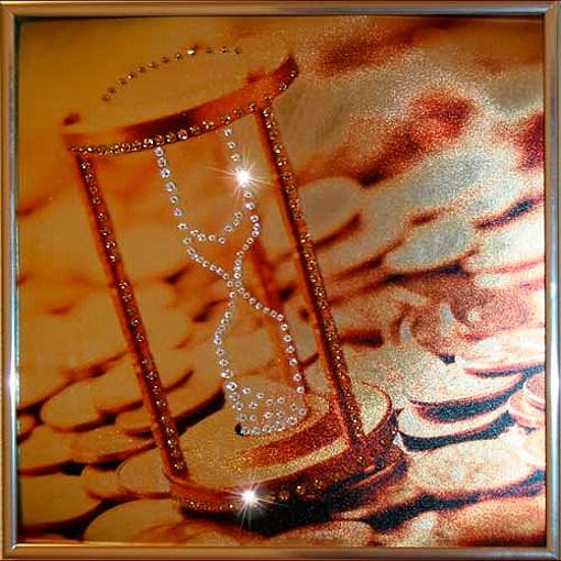 Картина с кристаллами Swarovski Время деньги 1
