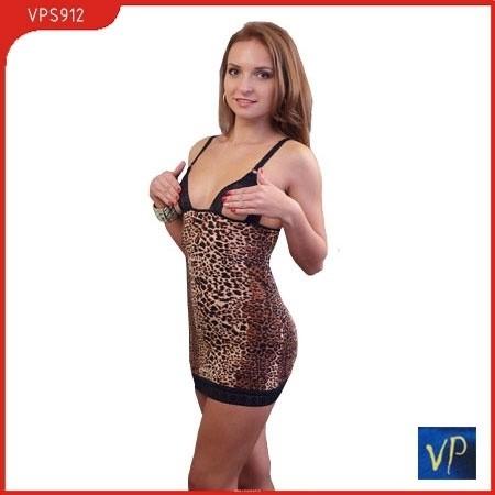Сорочка с открытой грудью и стринги, леопардовая