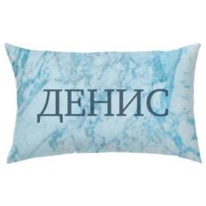 Подушка с вашим именем «Голубой мрамор»