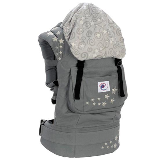 Рюкзак-переноска ERGO BABY Серый со звёздами