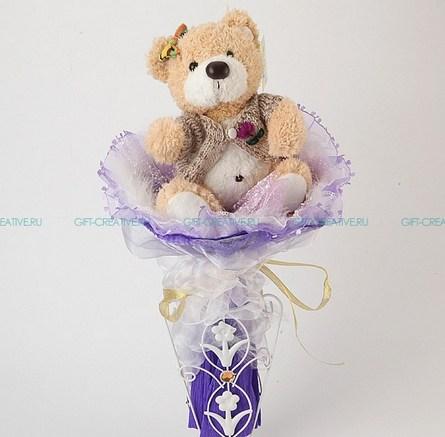 Букет из игрушек Серый медвежонок