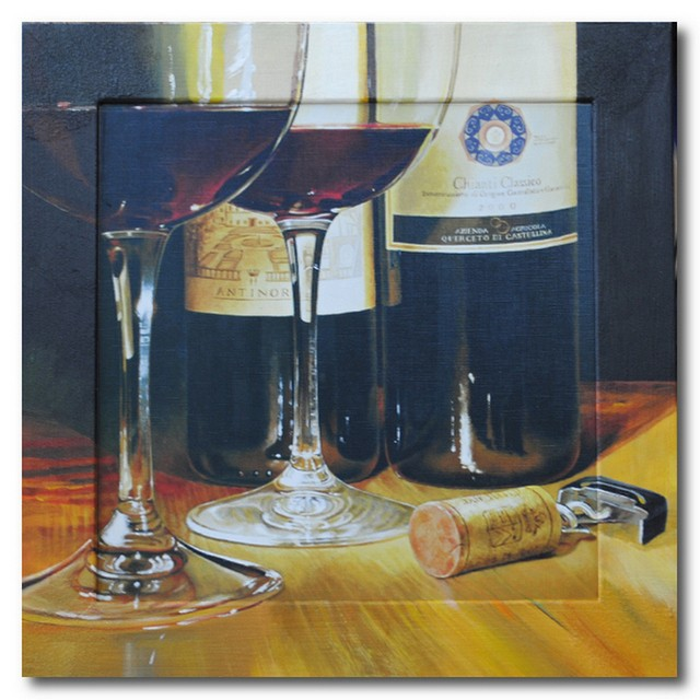 Репродукция с подрисовкой на раме Бутылки, бокалы и штопор