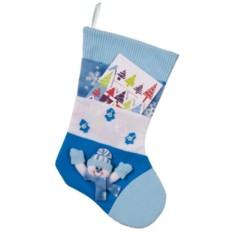 Голубой носок для подарков с карманом