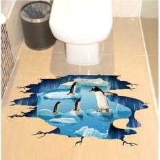 Напольный 3D-стикер Пингвины на льдине