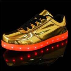Золотые LED-кроссовки со светящейся подошвой