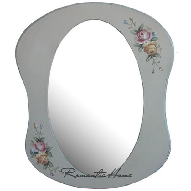 Овальное зеркало в голубой рамке