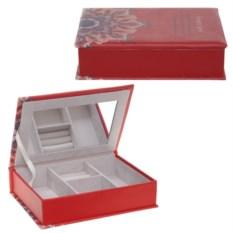 Красная шкатулка для украшений, размер 18х25х7 см
