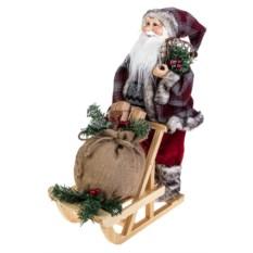 Украшение Дед Мороз на санях с подарками и мишкой