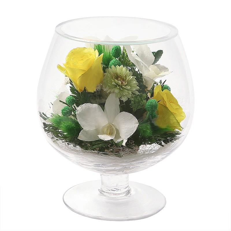 Букет-композиция из натуральных роз и орхидей